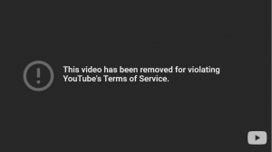 Screenshot indicates the removal of video on YouTube.
