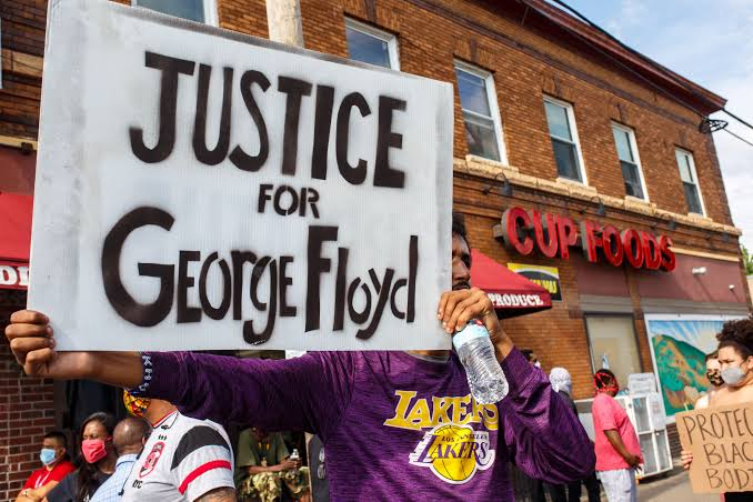 One of the protestors calling for justice for African-American, George Floyd.